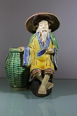 Antique Pottery Clay Ornament, Oriental Mud Man Hand Made High Glaze Hong Kong