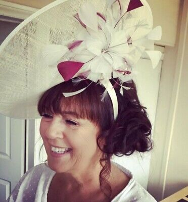 Hatinator / Fascinator / Hat Wedding - Ivory And Burgundy