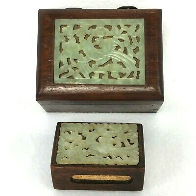 Vintage Chinese Jade Bird Inset Hard Wood Cigarette Box & Match Box Bryant & May