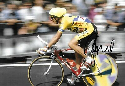 greg lemond on his way to winning the tour de france 1989 signed 12x8 photo