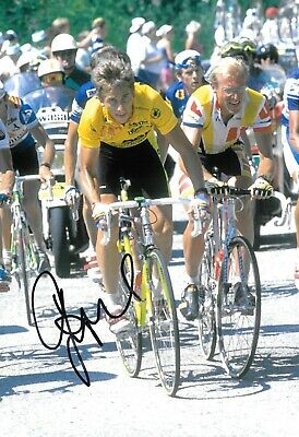greg lemond on route to winning the tour de france 1989 signed 12x8 photo
