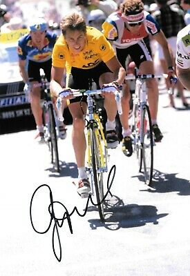 greg lemond cycling during winning the tour de france 1989 signed 12x8 photo