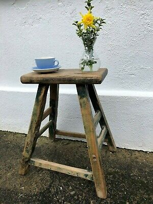 Antique Elm Stool Side Occasional Bedside Table Distressed Green Paint