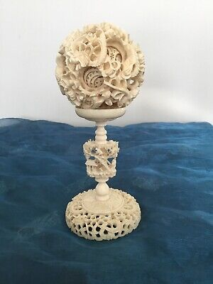 Old Chinese hand Carved Puzzle Ball On Stand With scrolling Dragon Detail