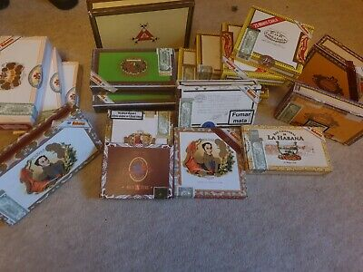 Large Selection of 18 Cigar Boxes (Empty) Guitar, clock, crafts, storage etc.