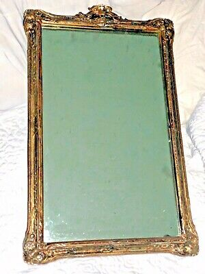 "Large Hand Carved Hard Wood Relief Framed Wall Mirror Antique Ornate 23"" Wooden"