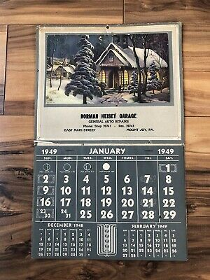 Heiseys Garage Calendar 1949 Intact Complete BB Holes Included Free.
