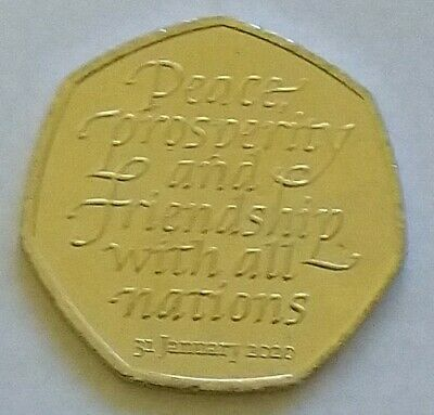 2020 Uk Brexit 50P Fifty Pence Uncirculated Coin