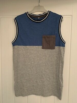 Boys Bluezoo Blue And Grey Vest With Chest Pocket Age 9-10 Years