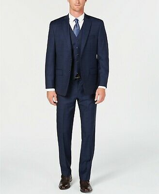 $800 Michael Kors 36s Men'S Blue Plaid Fit Wool Suit Jacket Blazer Pants Vest