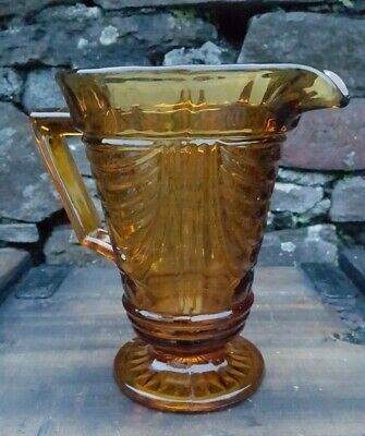 Vintage Art Deco style large Golden Brown cut glass Jug/vase/pitcher