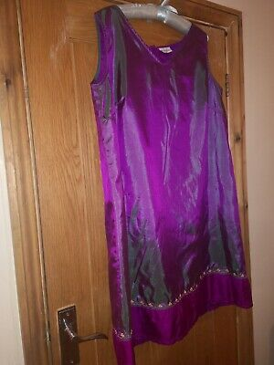 Ladies silky purple blooming marvellous tunic dress size 18 polyester