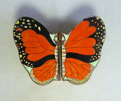 Large Vintage Chinese Canton Enamel Monarch Butterfly Hinged Box Trinket Box