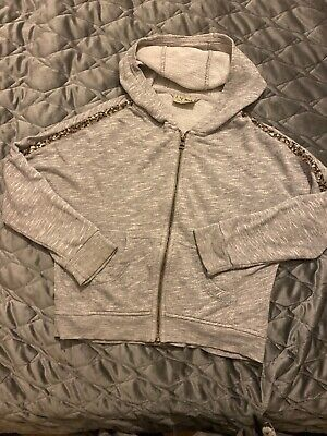 Girls Next grey hooded Zip Top with sequins aged 7 years