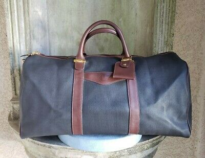 "DUNHILL X Large black brown leather Boston travel large duffel bag 21"" wide"