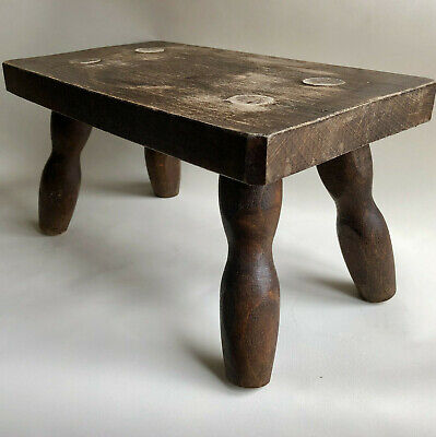 Vintage French Small Rectangular Four Leg Milking Stool With Turned Wood Legs