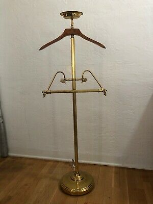 Brass and Wood Clothing Valet Butler Stand Suit Hanger Italian Style Vintage