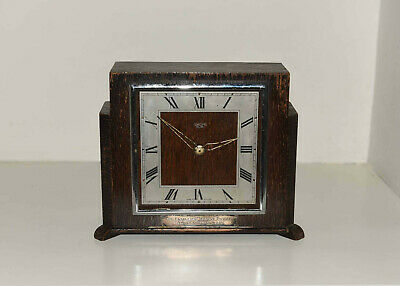 """Smiths Sectric Electric Clock 7"""" Wooden Art Deco Mantle"""