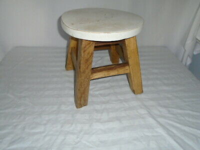 Vintage Small 4 Leg Sturdy Wooden Stool Milking Bench Footstool Farmhouse Decor