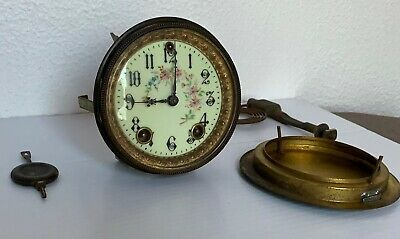 Antique GILBERT Clock Dial/Movement/Gong/Pendulum For Parts Tested Runs/Chimes