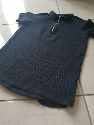 Boys Next Navy Zip Detsil Blue Smart Polo T Shirt Size 9 years