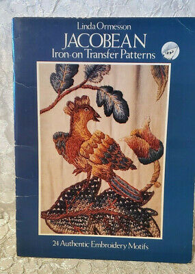 Vtg Jacobean Crewel Embroirdery Iron-On Transfers Book By Linda Ormesson Unused