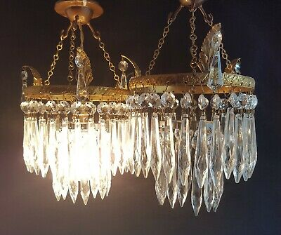 Vintage Pair Of Chandelier Ceiling Light Shades Crystal Glass Drops & Gilt Brass