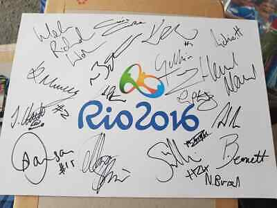 Multi Signed Team Gb Rio Olympics Crest Sheet Charity Auction Medal Winners ++