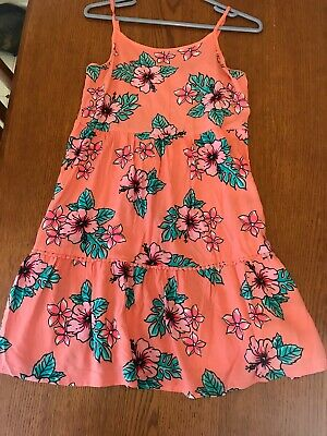STK483 Justice Youth Girls Dress Size 18 Sleeveless Floral Design Peach  EUC