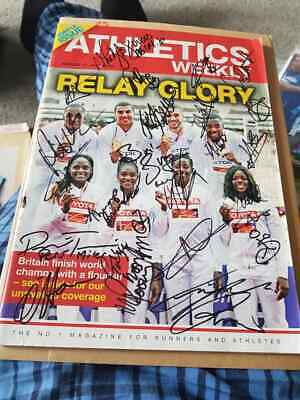 Multi Signed Athletics Weekly Magazine Charity Auction Medal Winners