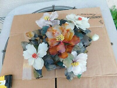Old Chinese Bonsai Tree Flowering Blossoms Jade Agate Crystal