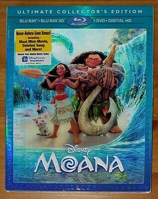 Moana [Blu-ray 3D+Blu-ray+DVD] (2016) w/ Lenticular Slipcover BRAND NEW, SEALED