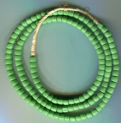 African Trade beads Vintage Czech Bohemian old green glass Masai beads