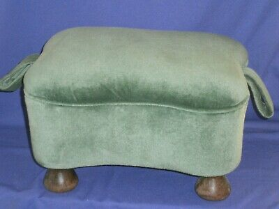 Vintage Small Victorian Footstool Ottoman 14x10x8½ inches Green Velvet Nice!