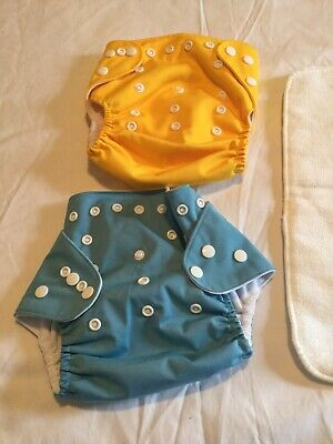 LBB 2 Cloth Pocket Diapers With Adjustable Snaps Solid Blue/Yellow