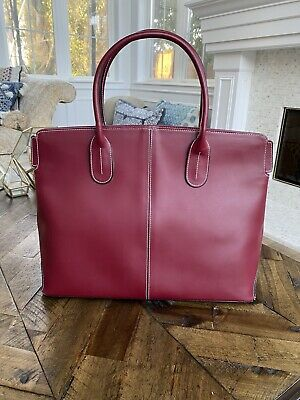 SAKS FIFTH AVENUE Red Leather Purse Leather Handbag - Lined - Barely Used