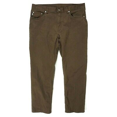Brooks Brothers Mens Chino Pants Size 36 x 30 Brown Cotton Stretch Straight Leg