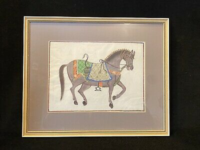 Vtg Hand Painted on Silk Asian Chinese Indian Show / War Horse Artwork Painting