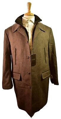 NEW TASSO ELBA Brown Wool and Cashmere Coat Jacket size Men's Large NWT