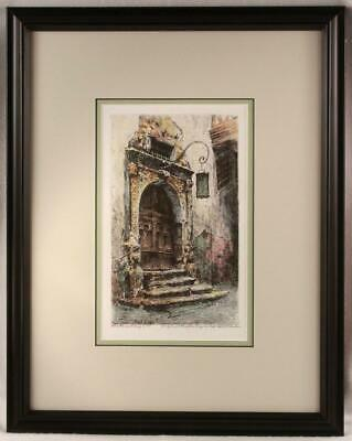 """PAUL GEISSLER """"Rothenburg Doorway"""" Framed Hand Colored Aquatint Etching Signed"""