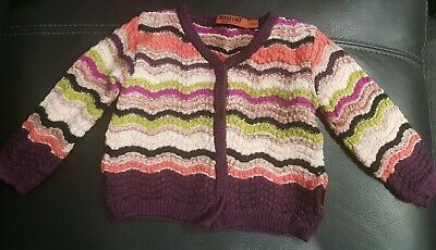 Missoni Baby Girls Wool Cardigan Size 6mths Excellent Used Condition