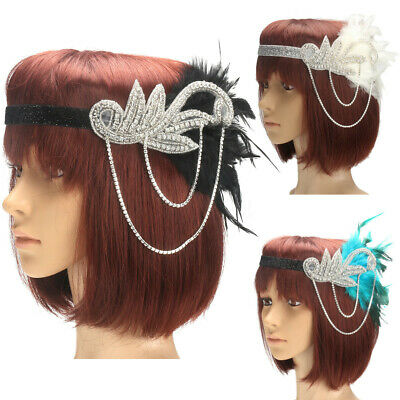 1920s Headpiece 20s Bridal Great Feather Gatsby Sequin Flapper Gangster