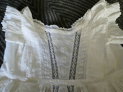 Victorian 1880 Christening Gown White Lawn Lace Embroidery Pin Tucks Ruffles