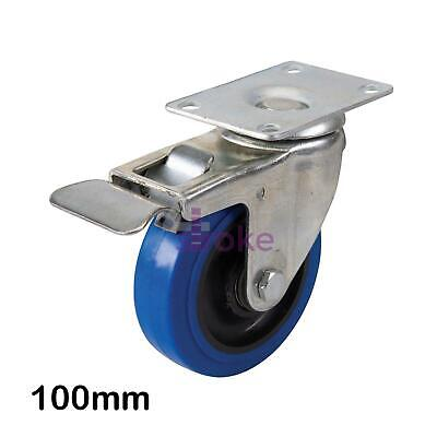 Blue Elastic Rubber Castor -100mm Blue Swivel Wheel With Non-Marking Tyres