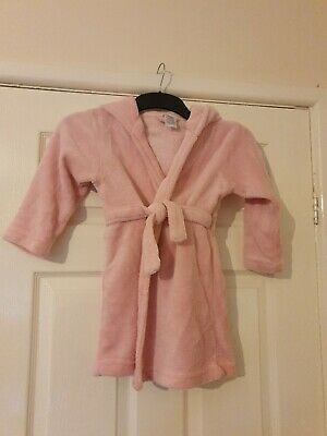 Girls Pink Bear Dressing Gown Age 5-6 Years Avon