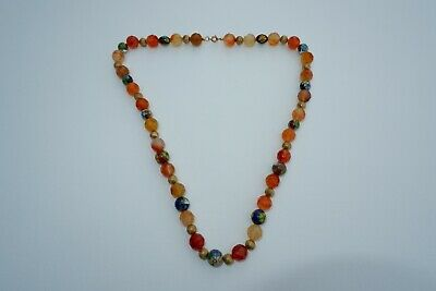 ANTIQUE CHINESE CARNELIAN & CLOISONNE BEADED NECKLACE - C1900's, 99.23 GRAMS!
