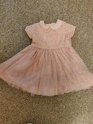 Baby Girls Pink Glitter party/occasion Mama's And Papas Dress 9-12 Months