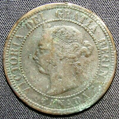 1890 H Canada 1 Cent Coin - Bent