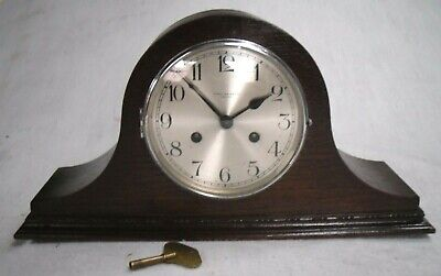 1930 Haller Germany:Restored Mahogany Napoleon Hat Mantel Wind-Up Chiming Clock.
