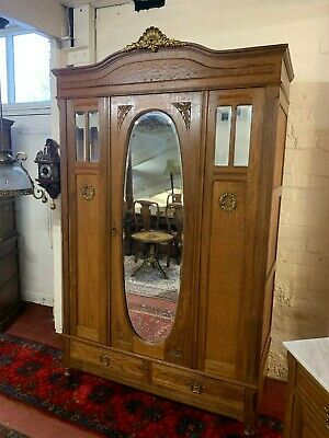 Fantastic French Antique Oak Mirrored Armoire/Wardrobe Circa 1900